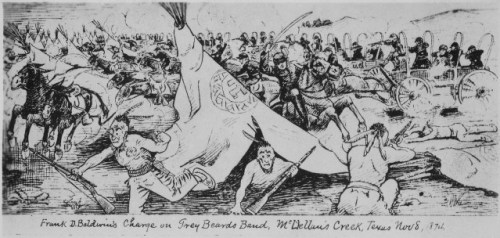 A depiction of Frank Baldwin's charge at McClellan's Creek Texas via commons.wikipedia.org