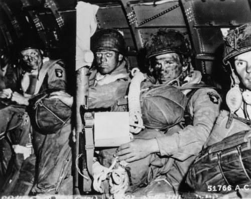 American paratroopers just before taking off for D-Day