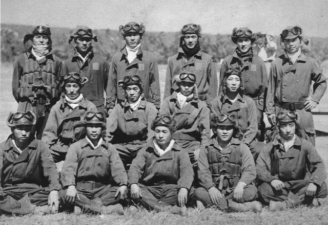 The Tainan Kōkūtai in June 1942. Sakai is in the middle row, second from the right.