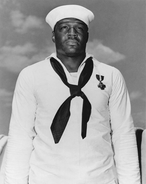 Miller with his Navy Cross.