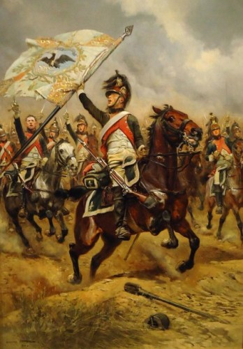 Though these are French Dragoons, they are similar in appearance to the unit Whittemore would have served in.