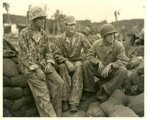 Three Marine officers of an amphibian tractor battalion who took part in the invasion of Guam.