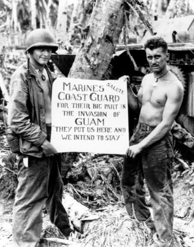Marines thanking the Coast Guard for the ride go Guam via commons.wikimedia.org