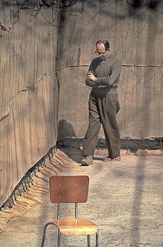 Adolf Eichmann in the yard of Ayalon Prison in Israel, 1961. By Flickr, CC BY-SA 3.0
