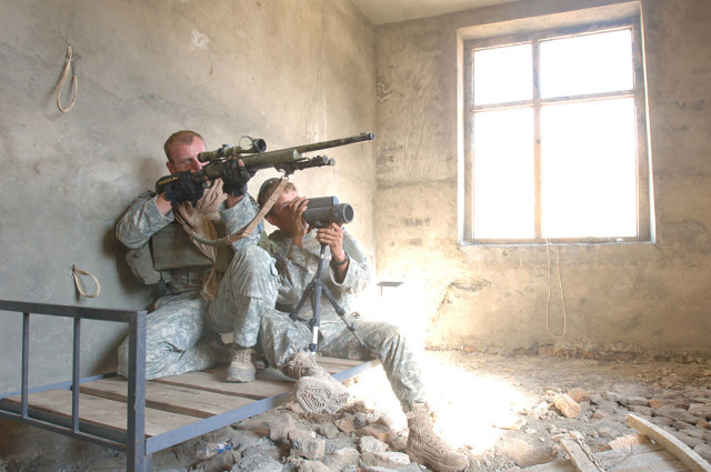 A U.S. Army sniper team from Jalalabad Provincial Reconstruction Team. By Cpl. Bertha Flores, U.S. Army - Public Domain.