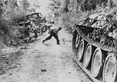Heavy fighting in the hedgerows of Normandy via commons.wikimedia.org