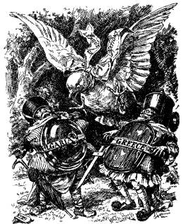 A British cartoon showing Tweedle Dee and Tweedle Dum as Greece and Bulgaria at war, wtih the UN represented as the dove of peace intermediating between them