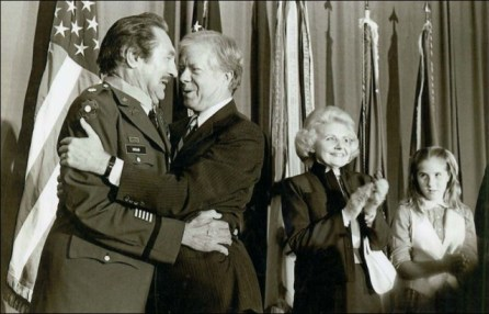 Matt Urban receiving the Medal of Honor in 1979 via http://www.toledoblade.com/Michigan/2005/05/30/Monroe-hero-may-have-most-WW-II-medals.html