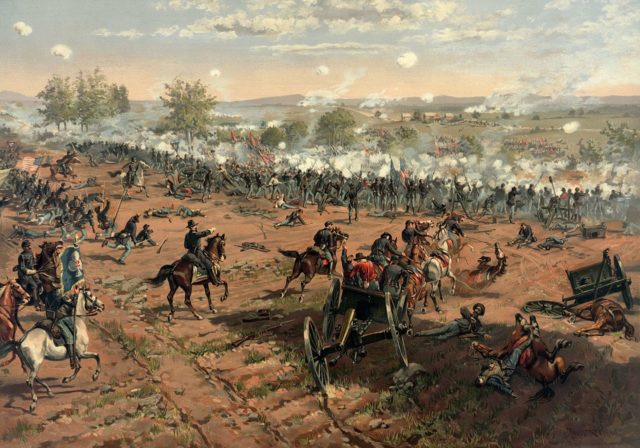 "Painting ""Hancock at Gettysburg"" by Thur de Thulstrup, shows the battle. Photo via the Library of Congress and Wikipedia"
