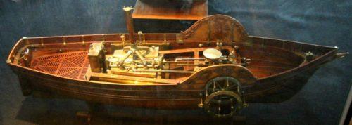 Model of steamship, built in 1784, by Claude de Jouffroy. Photo Credit.