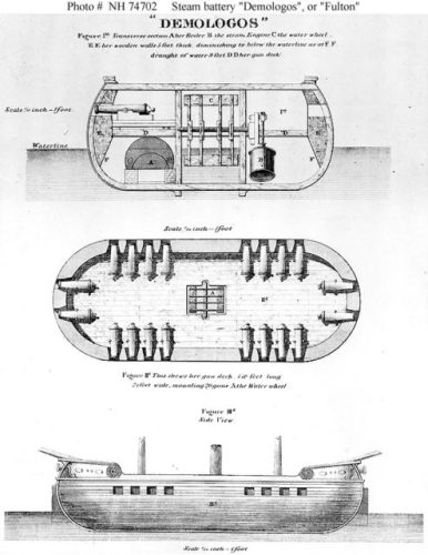 Three-view of Demologos as originally portrayed to the US government. The resulting vessel differed greatly from this early proposal.