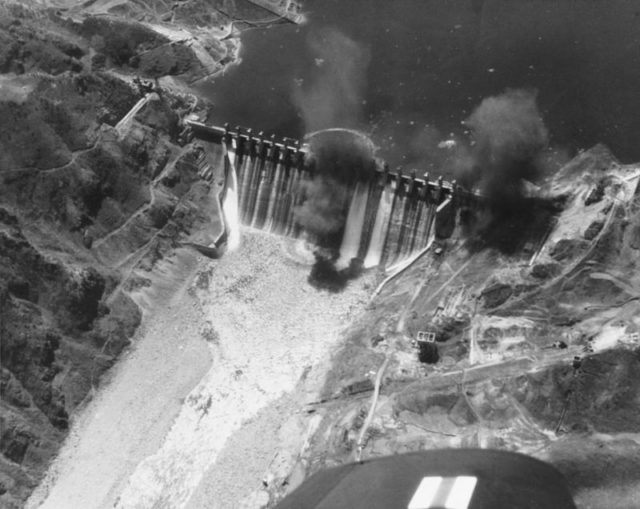 The Hwacheon Dam during some attacks. it was one of the only cases of torpedo use during the war.