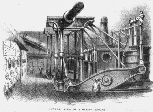 SS Humboldt Engine Room, illustrated in Harper's New Monthly Magazine, No. XII, May 1851, Vol. II.