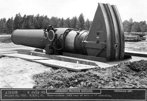 """Little David"" 36 inch (914 mm) mortar emplacement at Aberdeen Proving Ground, Maryland."