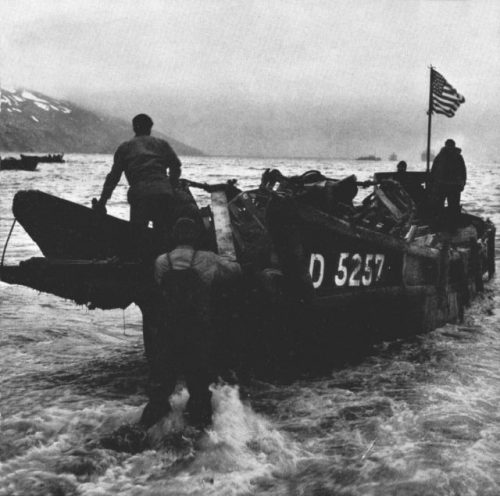 A Captured Daihatsu Class landing Craft, as used by the Japanese, at Attu Island, in 1943. These craft, wit their dropping boy ramps, would prove to be an inspiration for Andrew Higgins, who later designed the LCVP.