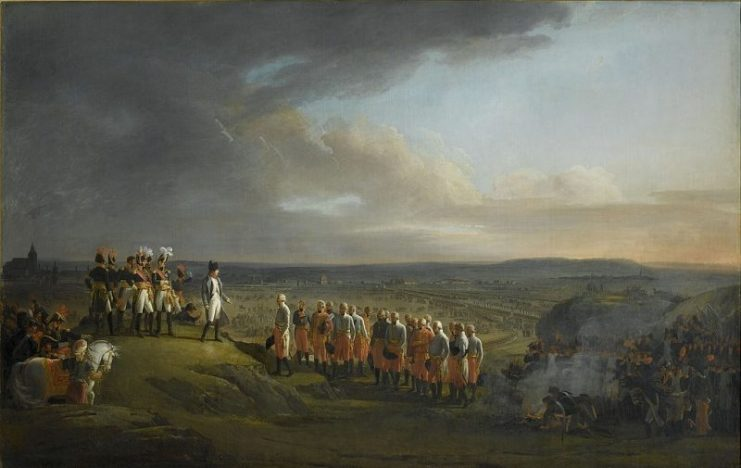 Napoleon and the Grande Armée receive the surrender of Austrian General Mack after the Battle of Ulm in October 1805. The decisive finale of the Ulm Campaign raised the tally of captured Austrian soldiers to 60,000. With the Austrian army destroyed, Vienna would fall to the French in November.