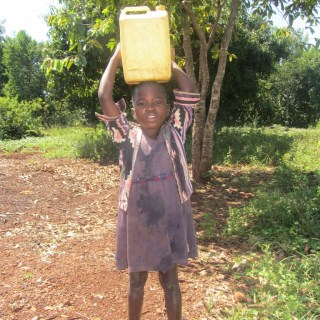 Rose fetching water in her village
