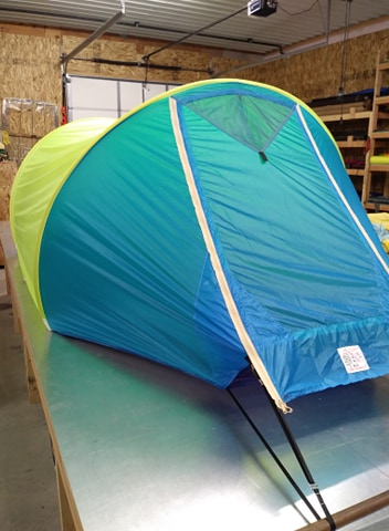 3 person tent in blue and tent