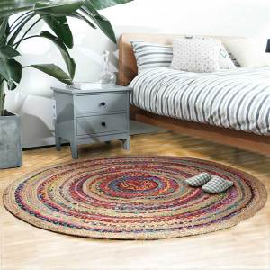 Boho Style All Hand Made Cotton Flax Round Area Rugs