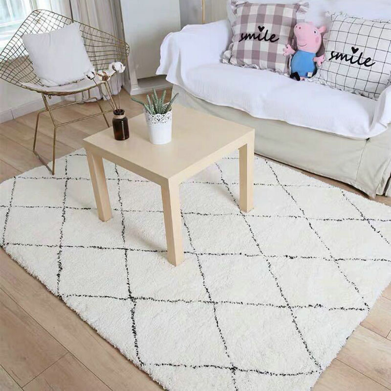 Diamond Lattice White Black Modern Rug