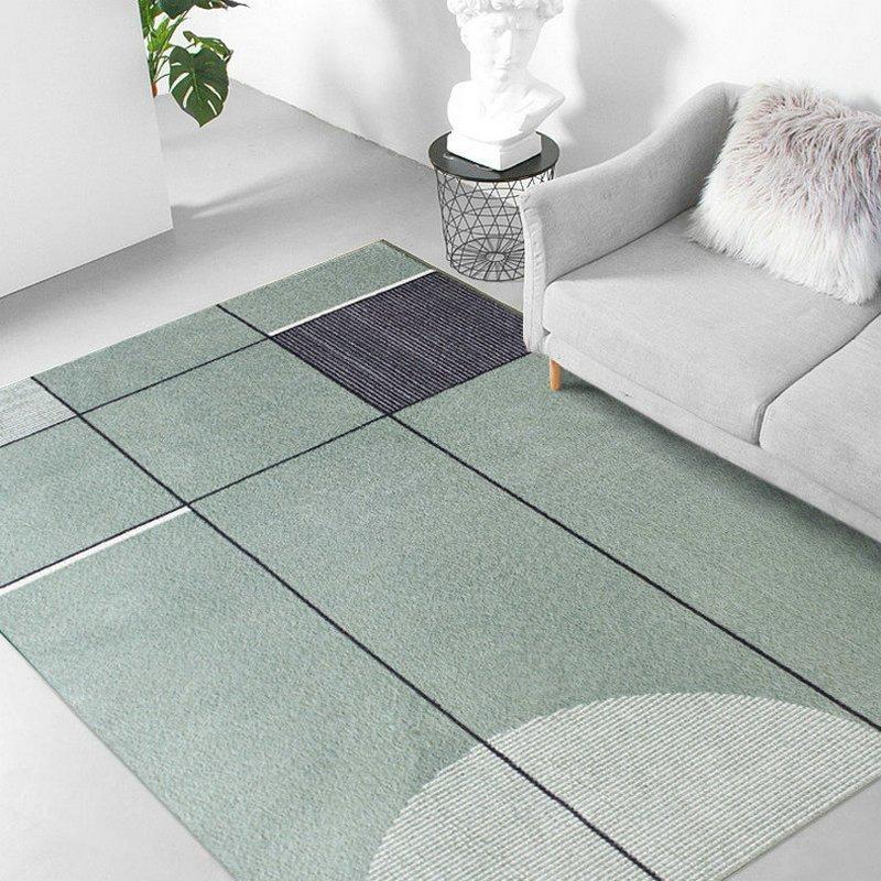 Impressive Modern Green Geometric Rug
