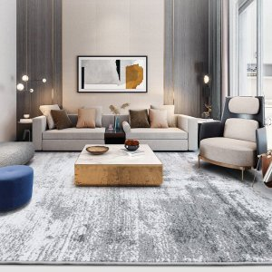 Living Room Contemporary White Grey Rugs