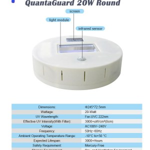 QuantaGuard 20W Round 222nm FAR UVC Excimer Lamp 24V DC