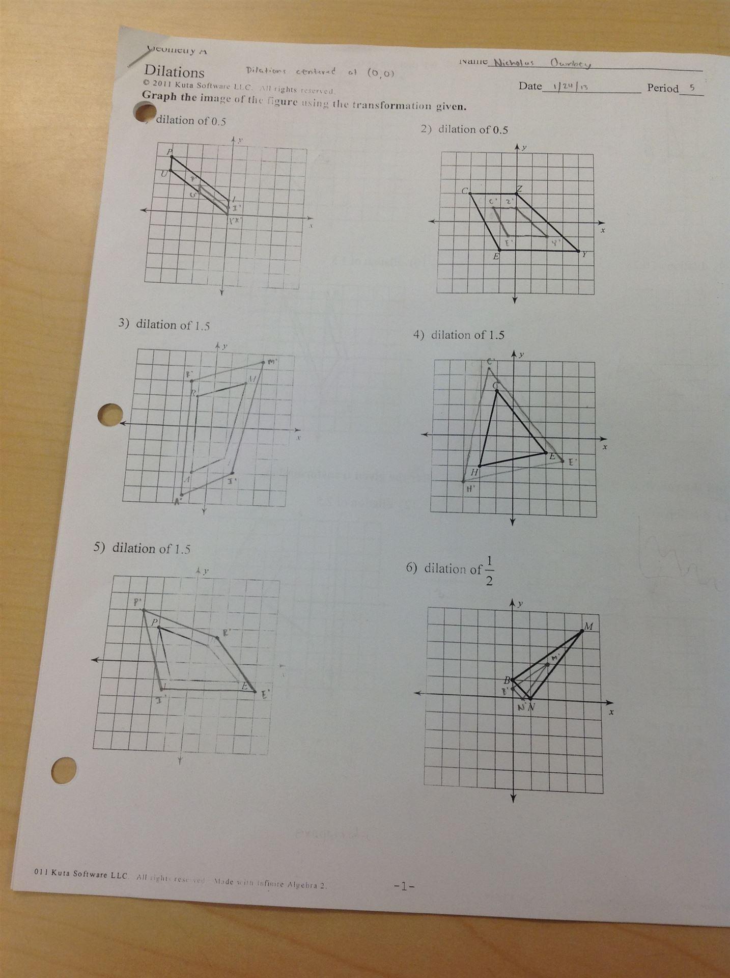 Dilation Worksheet Kuta Math Dilation Best Free Printable Worksheets