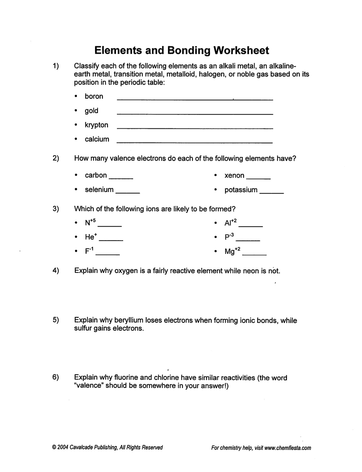 Ionic Bonding Worksheet High School Answers