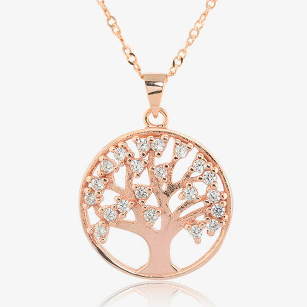 Sterling Silver Lifes Tree Necklace With Rose Gold Finish