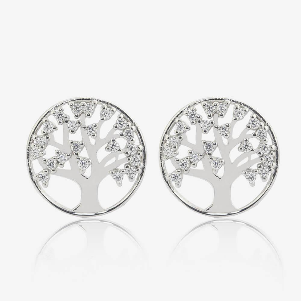 Sterling Silver Lifes Tree Stud Earrings