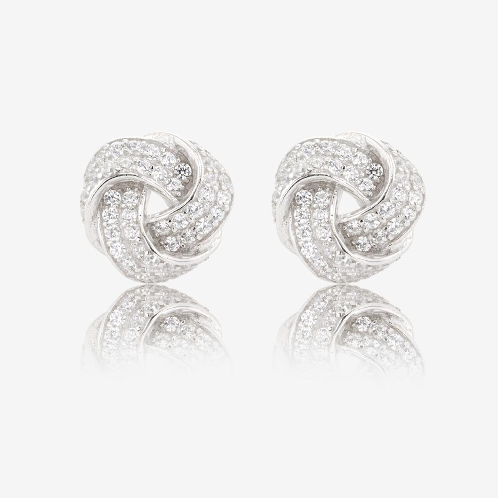 Sterling Silver DiamonFlash Cubic Zirconia Knot Earrings