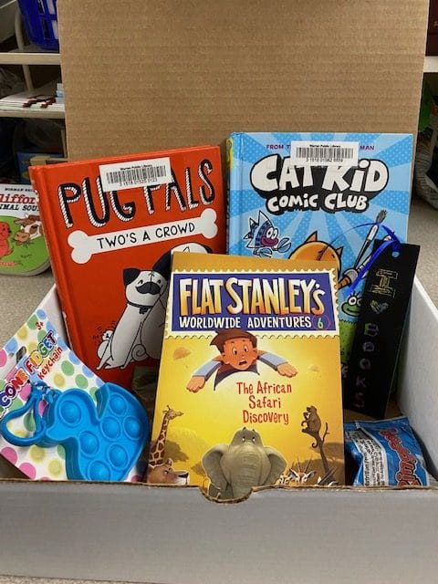 Photograph of several books, candy, and a small toy inside a cardboard box.