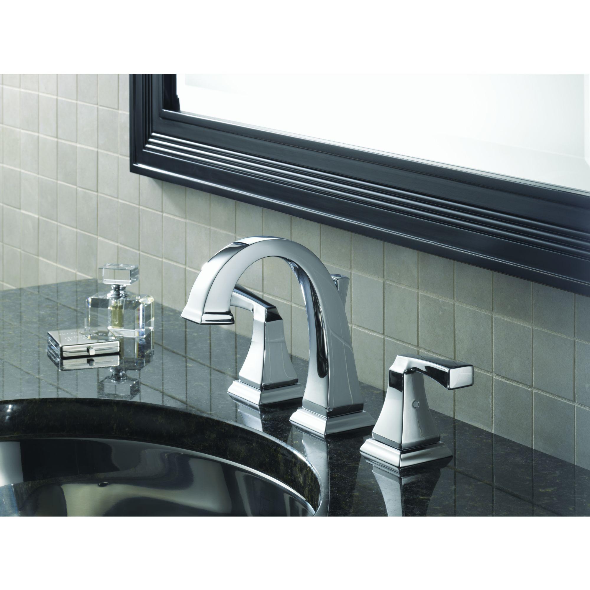 3551lf chrome delta dryden two handle widespread bathroom faucet