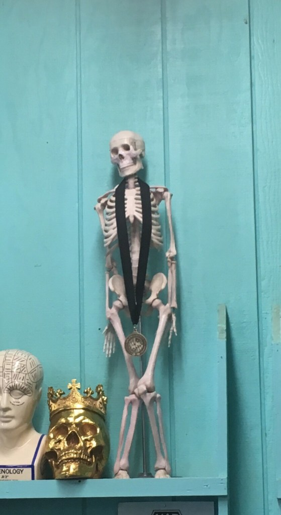 Skeleton wears Helles Belles' gold medal
