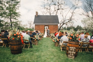 Spring Estate Wedding at Warrenwood Manor with rustic touches and coral accents