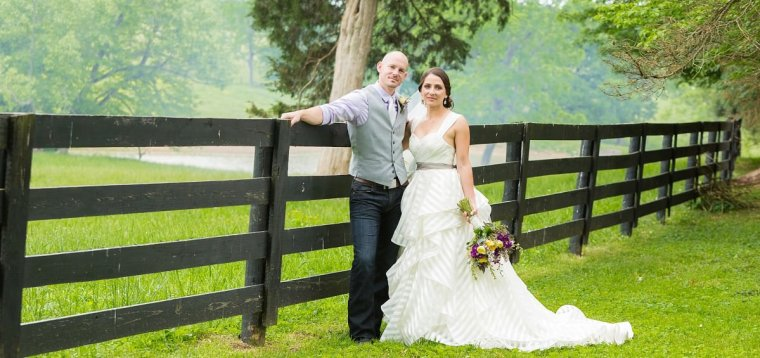 Couple's Portrait at spring farm wedding, Photo by Wes Brown Photography