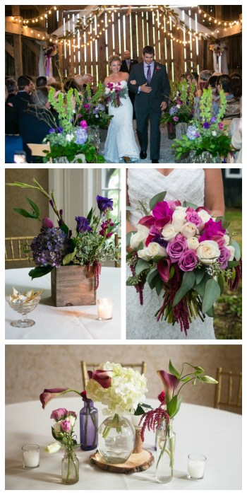 Event Styling: Shades of Purple Rustic Elegant Floral Design Barn Wedding