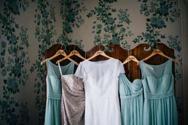 Dusty Blue and champagne bridesmaids dresses