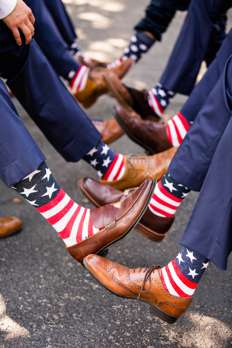 Crazy socks worn by Groomsmen at charming southern estate wedding