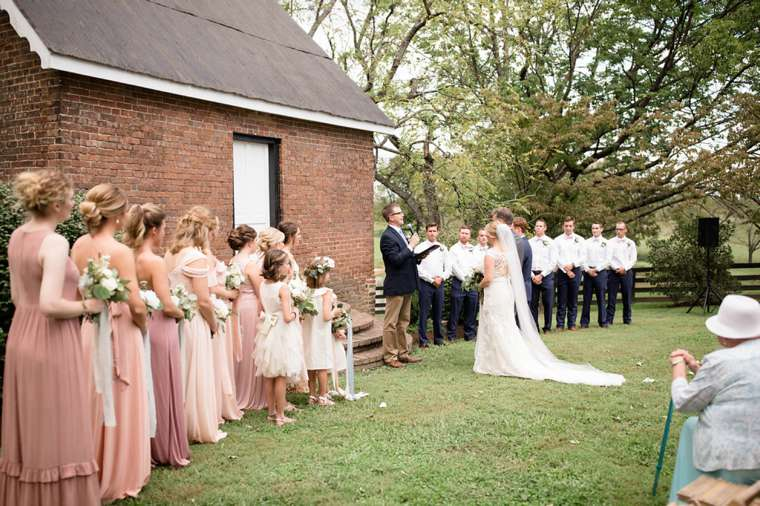 Blush, Navy & White wedding ceremony at Warrenwood Manor
