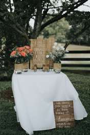 Rustic country alter table at Warrenwood Manor outdoor farm ceremony