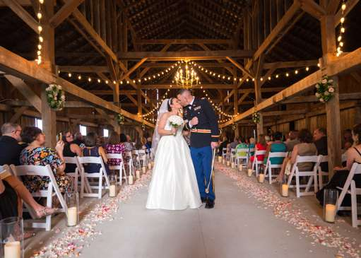 Spring wedding ceremony in barn