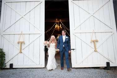 Bride & Groom exit Warrenwood barn wedding ceremony