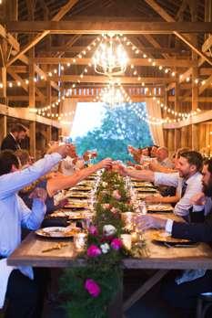 Intimate wedding reception in Warrenwood Manor barn