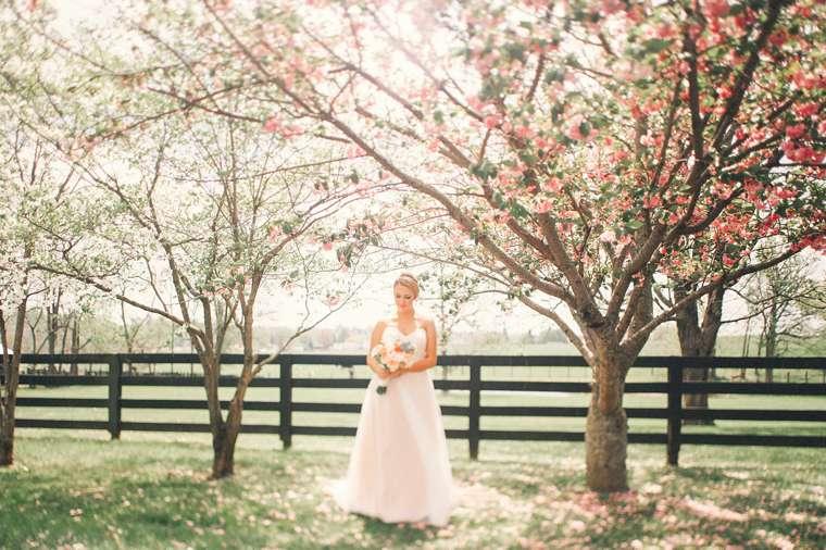 Outdoor bridal portrait at central Kentucky wedding venue
