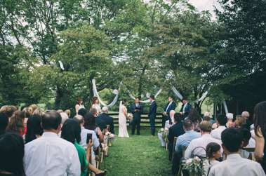 Outdoor minimalist ceremony on the grounds at Warrenwood Manor