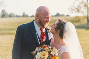 Sunkissed bride & groom during Kentucky farm wedding