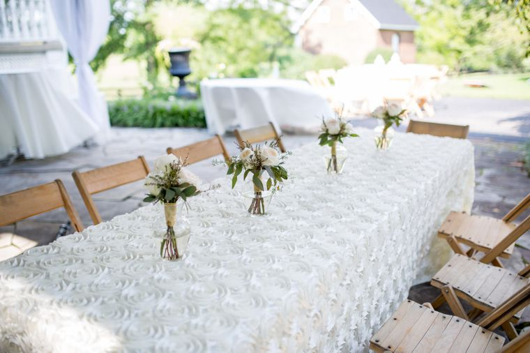 Classic traditional tablescape with ivory rosette table linen