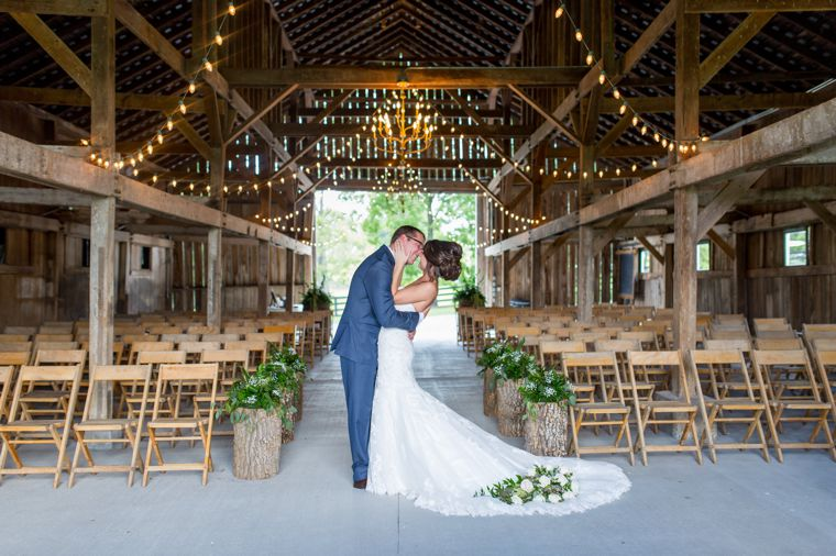 Traditional southern summer wedding in rustic barn